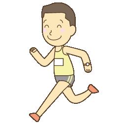 出雲でマラソンをする男性イラスト